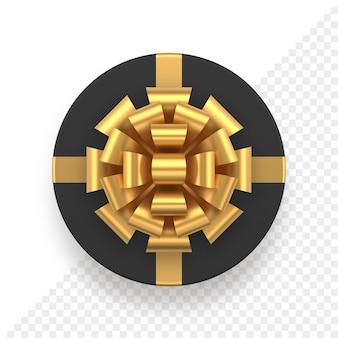 Tampa redonda realista de caixa de presente preta com laço dourado