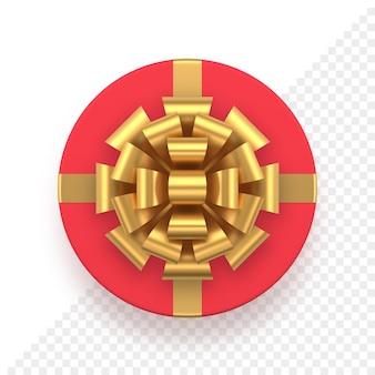 Tampa redonda realista de caixa de presente vermelha com laço dourado