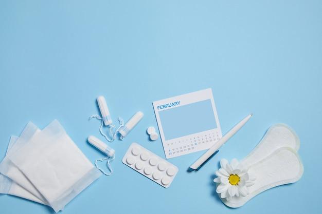 Tampão sanitário menstrual, almofada, analgésicos