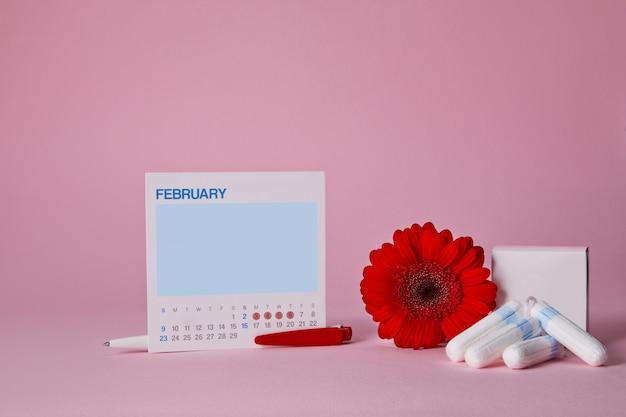 Tampões sanitários menstruais, caixa e flor vermelha