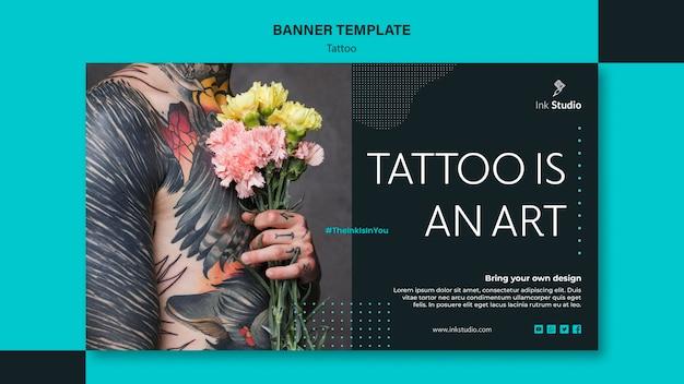 Tatuagem é um modelo de banner de arte