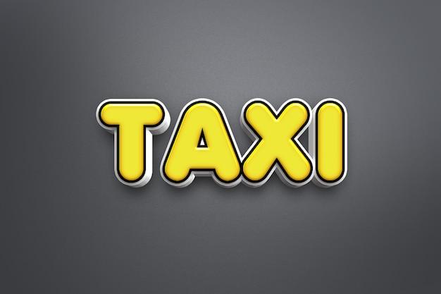 Táxi - efeito de estilo de texto 3d psd