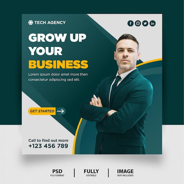 Teal amarelo cor marketing digital mídias sociais post banner