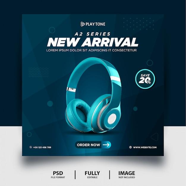 Teal color headphone marca produto mídias sociais post banner