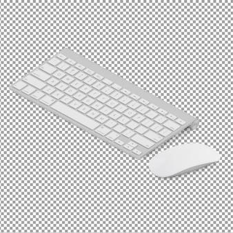 Teclado isométrico e mouse