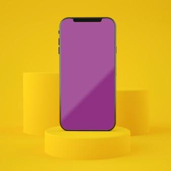 Tela amarela completa smartphone maquete renderização em 3d