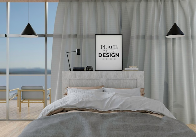 Tela de arte de parede ou interior de maquete de moldura em um quarto