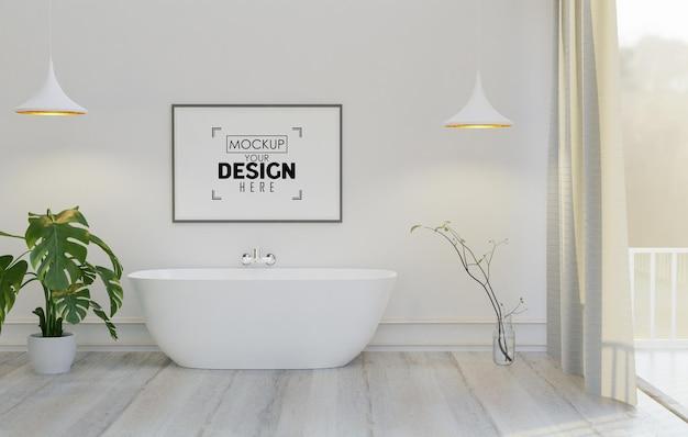 Tela de arte de parede ou moldura de quadro mockup no banheiro interior