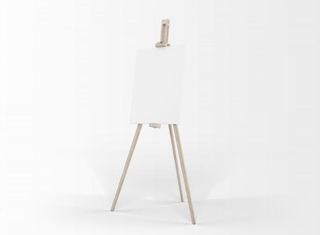 Tela de arte em um cavalete isolado no branco
