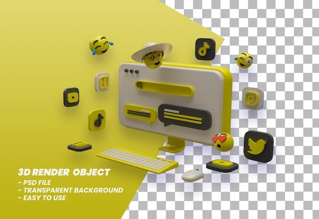 Tela de computador com design de ilustração 3d com elementos emoticons psd premium