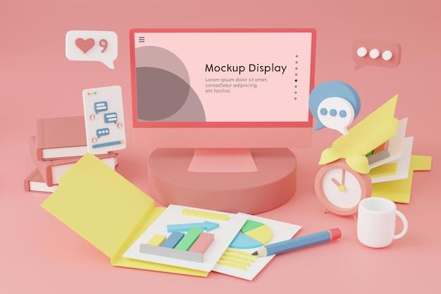 Tela de computador com maquete de posicionamento de tela na mesa com muitos materiais de negócios