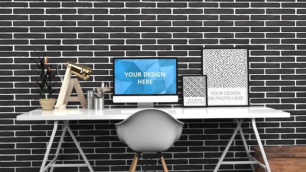 Tela de computador e maquete de pôsteres verticais em tijolo preto escritório doméstico contemporâneo