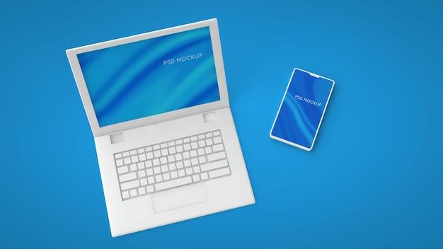Tela de laptop branco e maquete psd de smartphone. 3d render alterar a cor de fundo