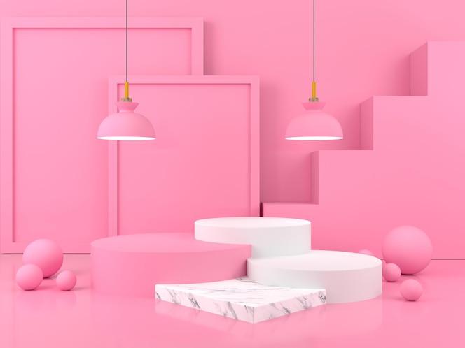Tela de pódio renderização 3d moderna com geometria mínima de palco