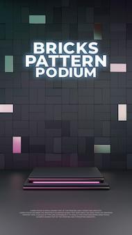 Tela de produto podium 3d tijolos