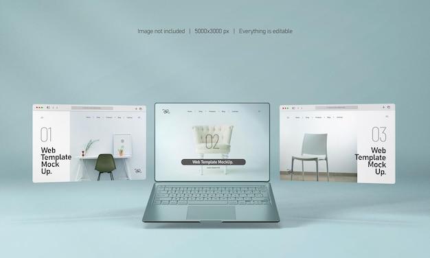 Tela do laptop com maquete de apresentação do site isolada