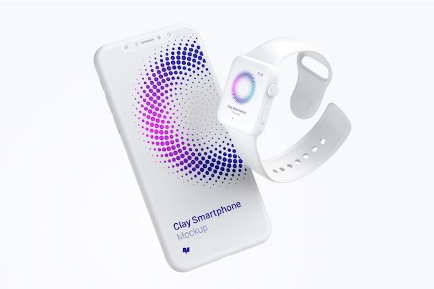 Tela do smartphone e maquete do relógio inteligente