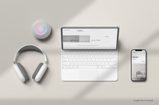 Tela do tablet e maquete do telefone