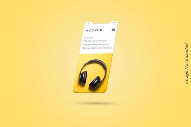 Tela flutuante do smartphone para maquete de apresentação do aplicativo ui ux