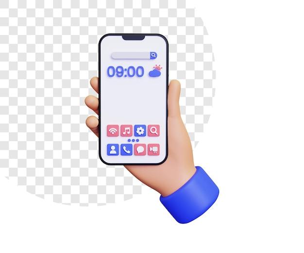 Tela inicial 3d com a mão segurando o smartphone