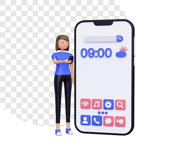 Tela inicial 3d com personagem feminina em pé