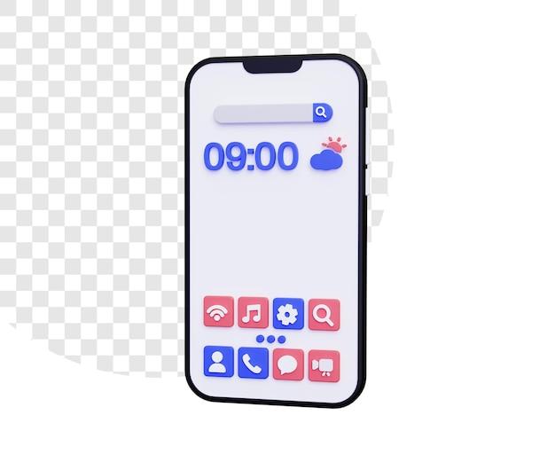 Tela inicial do smartphone 3d