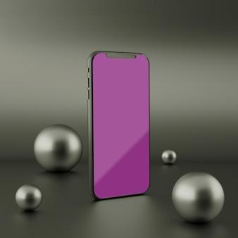 Tela preta completa smartphone maquete renderização em 3d