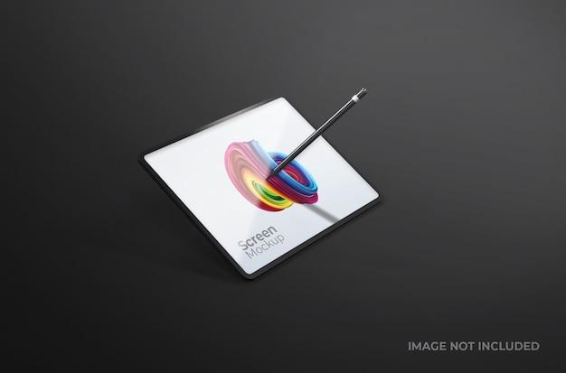 Tela preta do tablet digital com maquete de caneta isolada