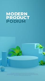 Tela promocional de produto blue nature plant 3d realista de pódio