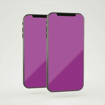 Tela smartphone maquete renderização em 3d