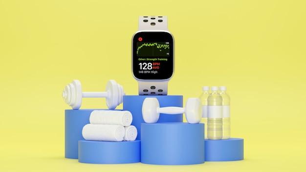 Tela vazia smartwatch simulado halteres garrafas de água toalhas em fundo azul pódio amarelo