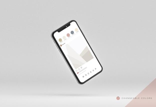 Telefone 3d mínimo com maquete de interface rrss levitando