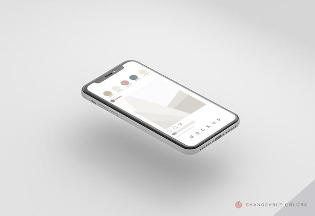 Telefone 3d mínimo isométrico com maquete de interface rrss levitando