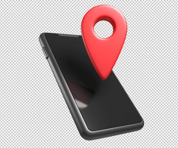 Telefone com ilustração 3d gps