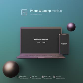 Telefone e laptop em pé em um ambiente abstrato mockup