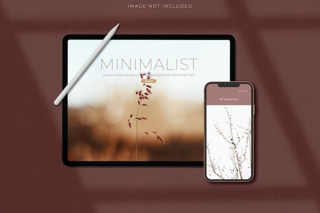 Telefone e tablet para maquete de negócios globais de identidade de marca