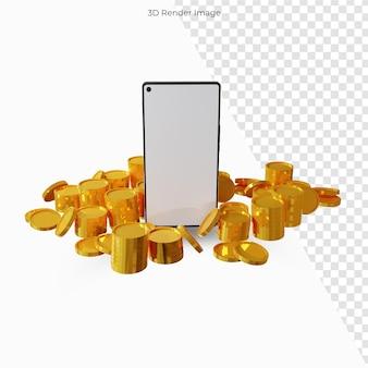 Telefone financeiro de conceito móvel com moeda de dinheiro para negócios Psd Premium