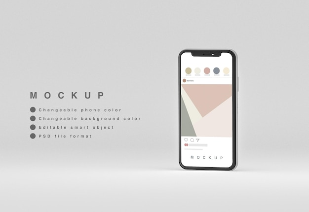 Telefone frontal mínimo 3d com maquete de interface rrss levitando com copyspace