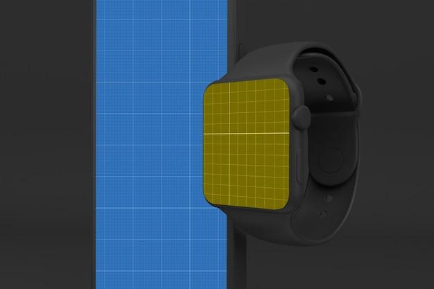 Telefone inteligente escuro e relógio inteligente