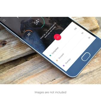Telefone móvel, madeira, maquete, cima