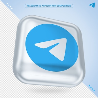 Telegram 3d app icone randering