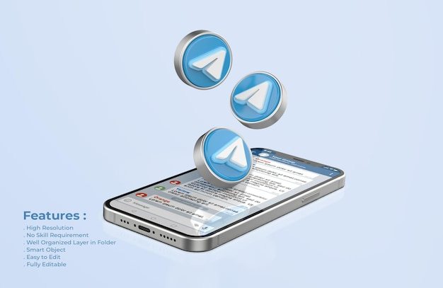 Telegram em silver mobile phone mockup