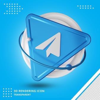Telegram redes sociais ícone do telegrama renderização em 3d