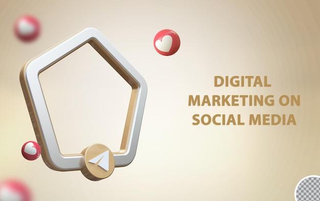 Telegrama de mídia social 3d com maquete de quadro