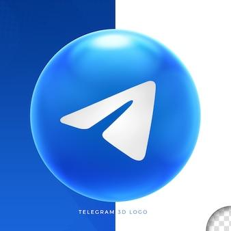 Telegrama do logotipo no design da elipse 3d