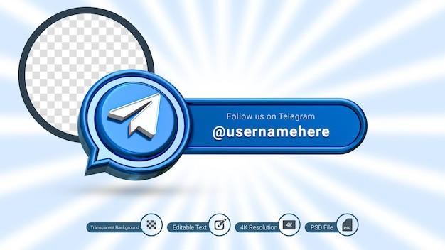 Telegrama renderização em 3d siga-nos rótulo isolado ícone de banner de mídia social premium psd