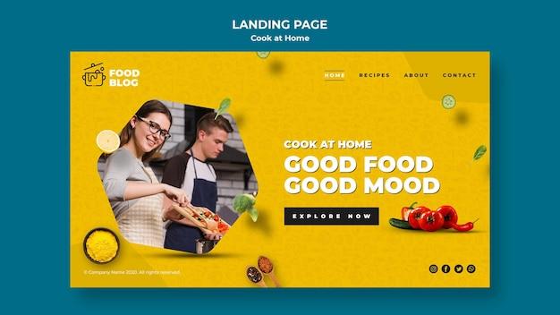 Tema cozinhar página de destino em casa