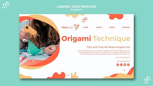 Tema da página de destino de origami
