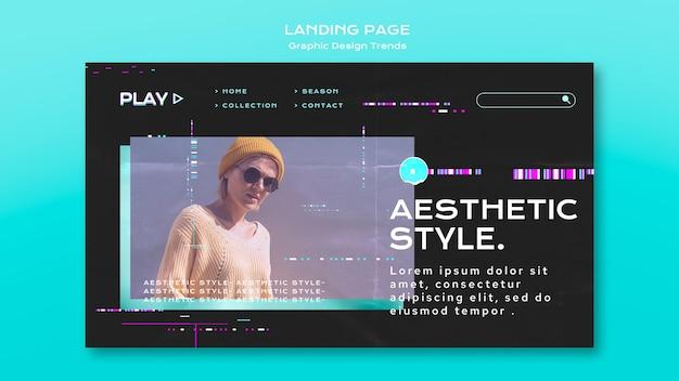 Tema da página de destino de tendências de design gráfico