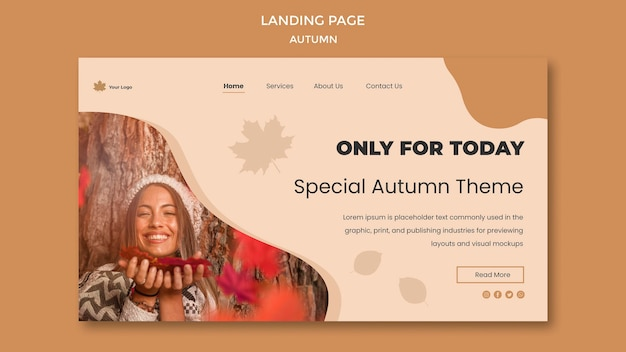 Tema da página de destino do outono